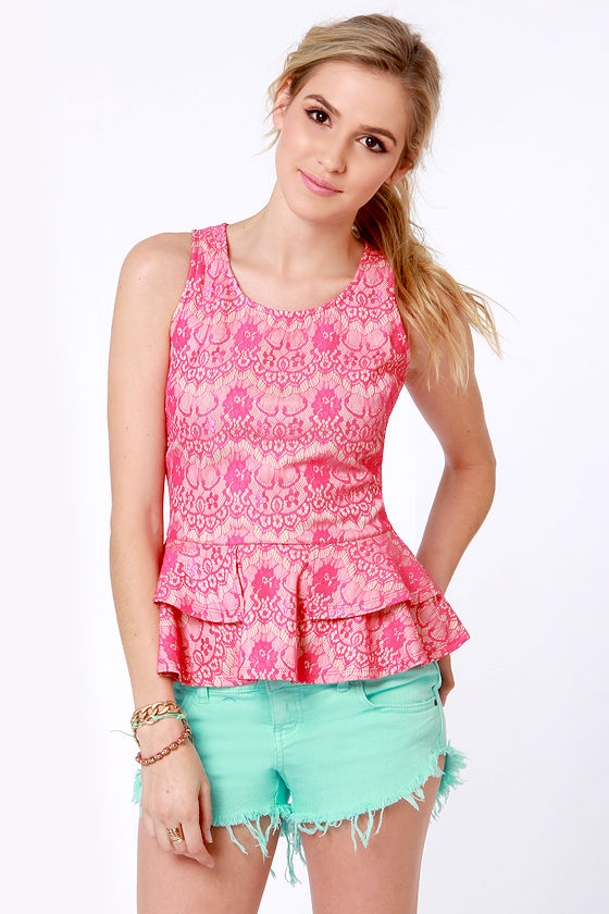 61751e4d8d628 Cute Hot Pink Top - Lace Top - Peplum Top -  41.00
