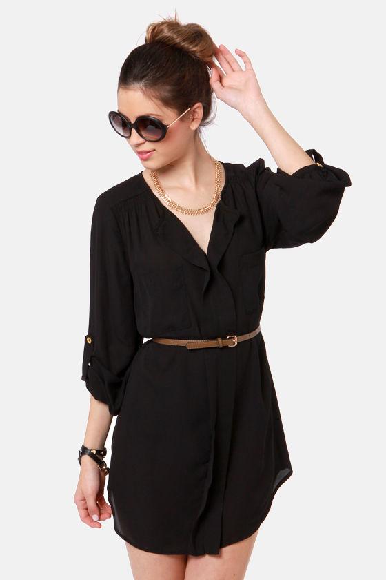 black dress belted dress shirt dress 42 00