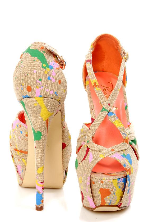Privileged Uprise Tan Paint Splatter Print Platform Heels at Lulus.com!