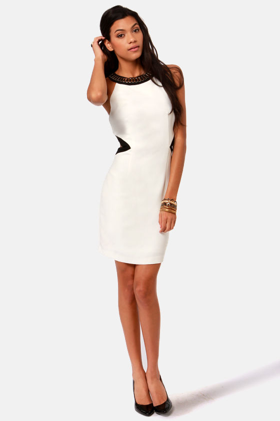 Chains Required Black and Ivory Dress at Lulus.com!