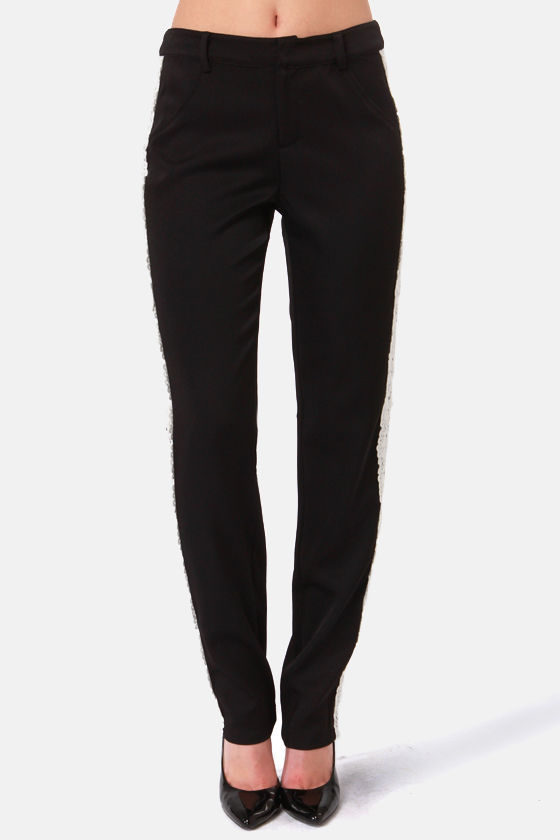 A Matador of Time Lace-Trimmed Black Pants at Lulus.com!