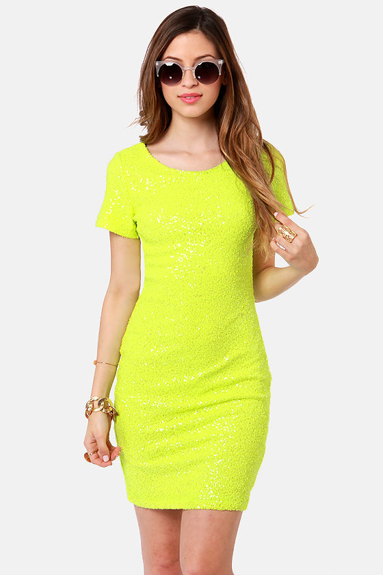 Pretty Neon Yellow Dress - Sequin Dress - $69.00