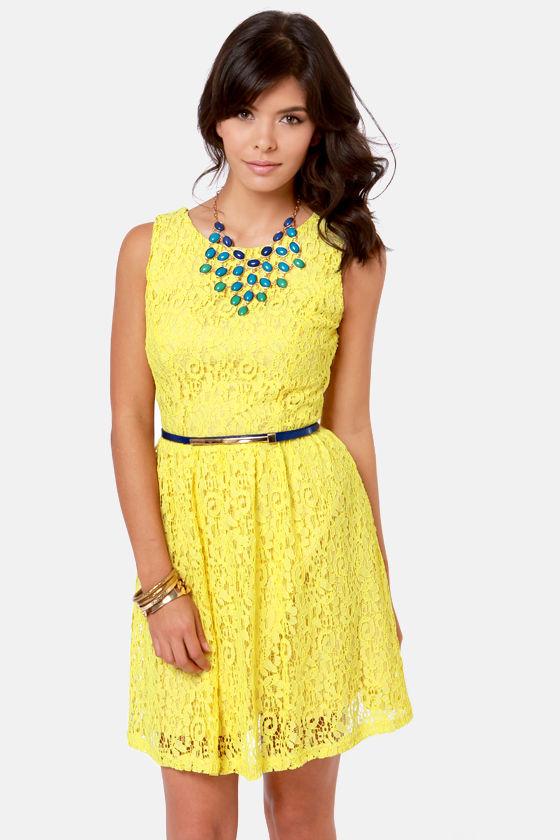 Pretty Yellow Dress Lace Dress Belted Dress 59 00
