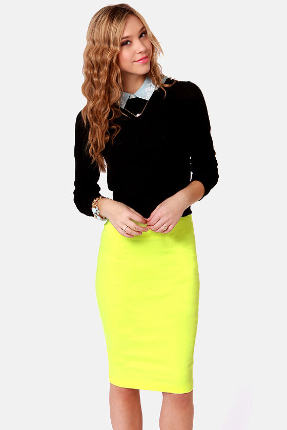 Radio Attractive Neon Yellow Pencil Skirt at Lulus.com!