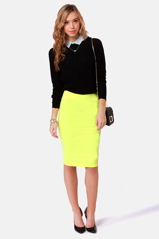 7cb848447 Cute Neon Yellow Skirt - Pencil Skirt - $43.00
