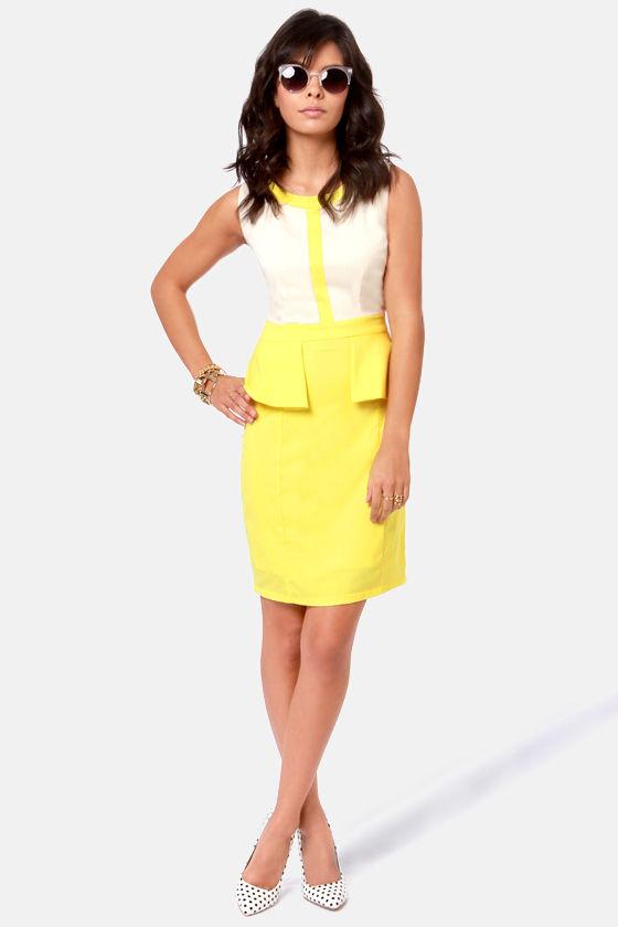 Into Thin Flare Cream and Yellow Peplum Dress at Lulus.com!