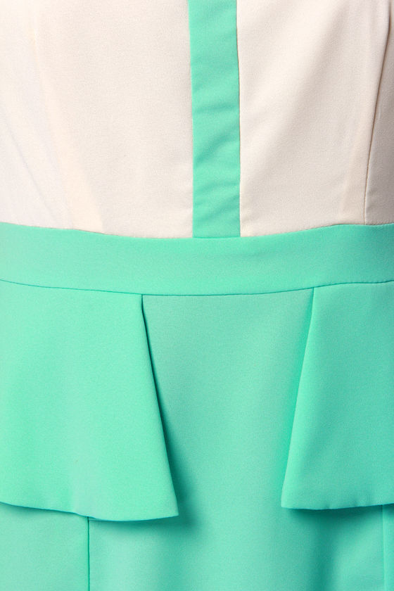 Into Thin Flare Cream and Mint Blue Peplum Dress at Lulus.com!