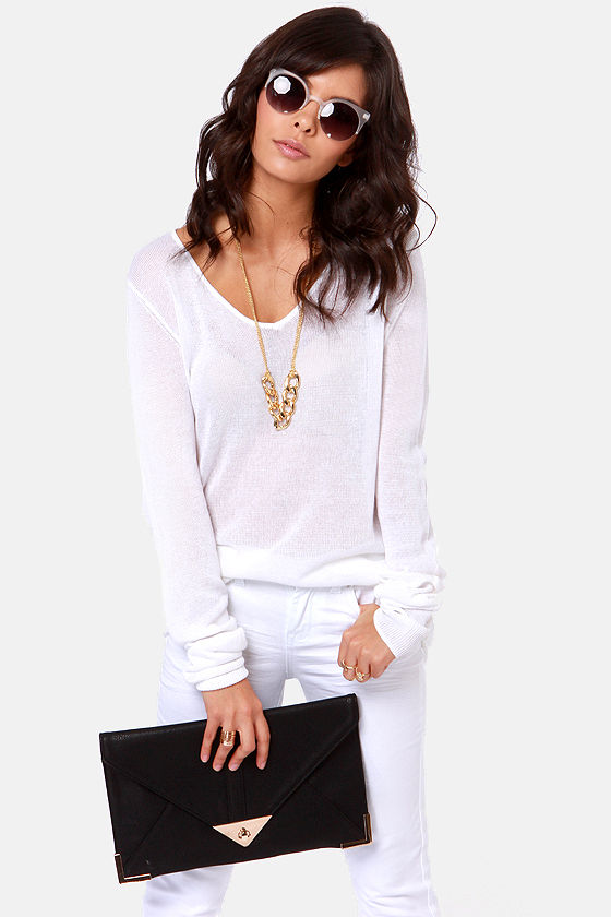 Shreds Up! Slashed Ivory Sweater at Lulus.com!