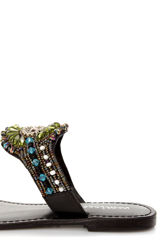 Matisse Landmark Black Toe Ring Beaded Sandals at Lulus.com!