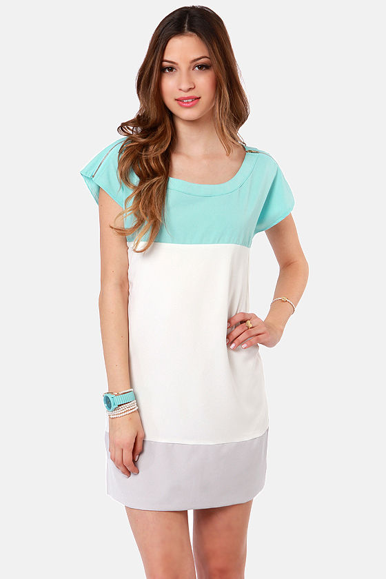 Cute Sky Blue Dress - Color Block Dress - Sheath Dress - $32.00
