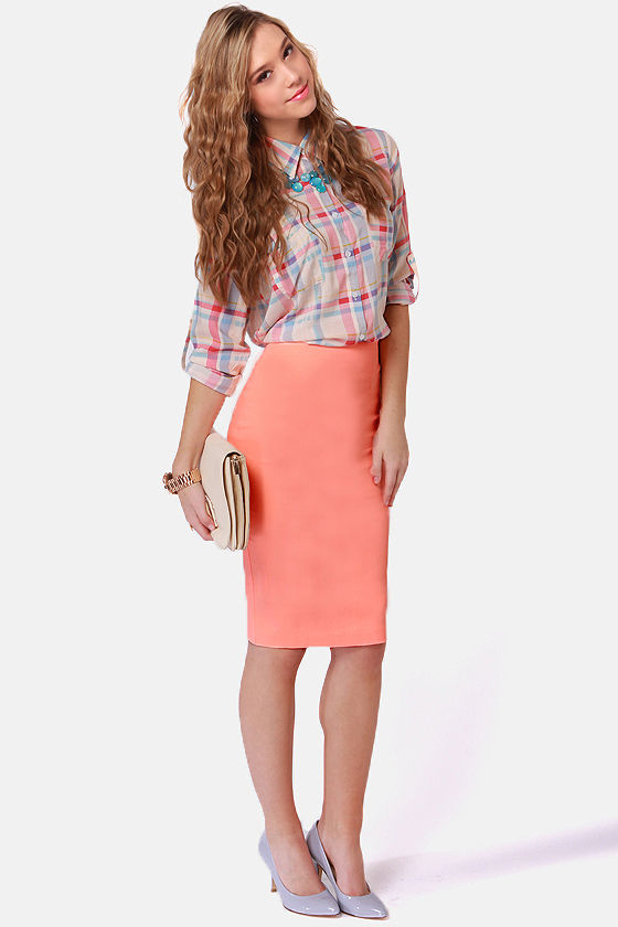 Cute Neon Coral Skirt - Pencil Skirt - $43.00