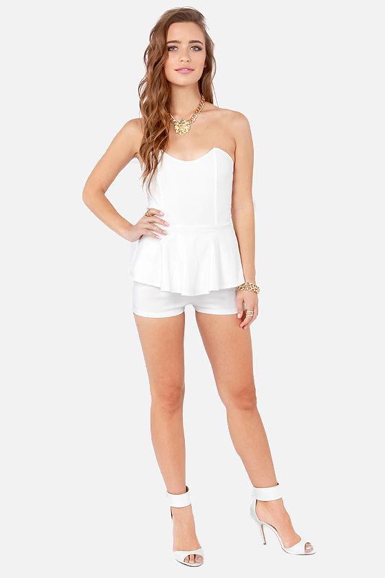 Short White Strapless Rompers