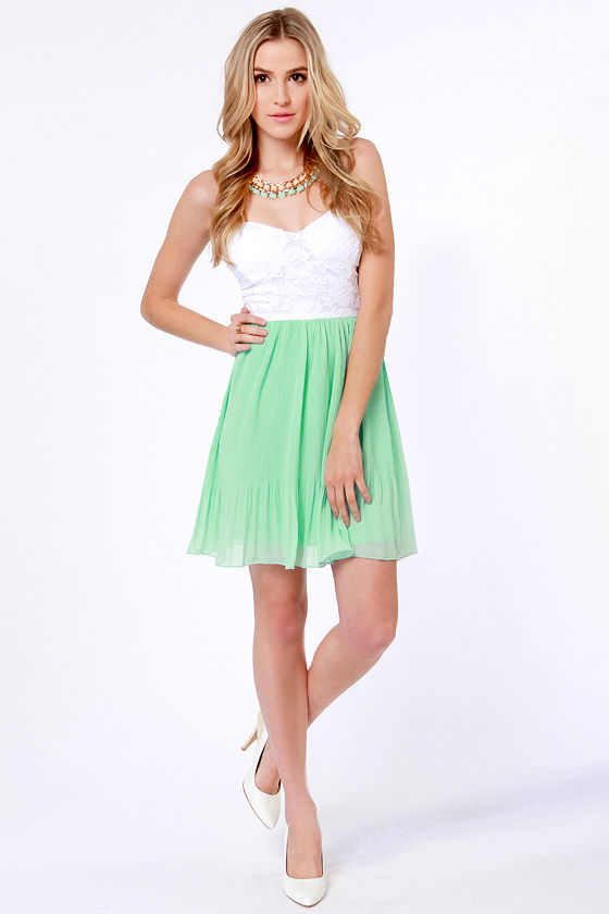 Pleat Your Case White and Mint Green Dress at Lulus.com!
