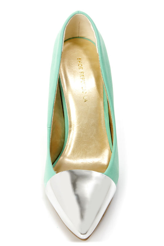 Shoe Republic LA Latin Blue and Silver Cap-Toe Pointed Pumps at Lulus.com!