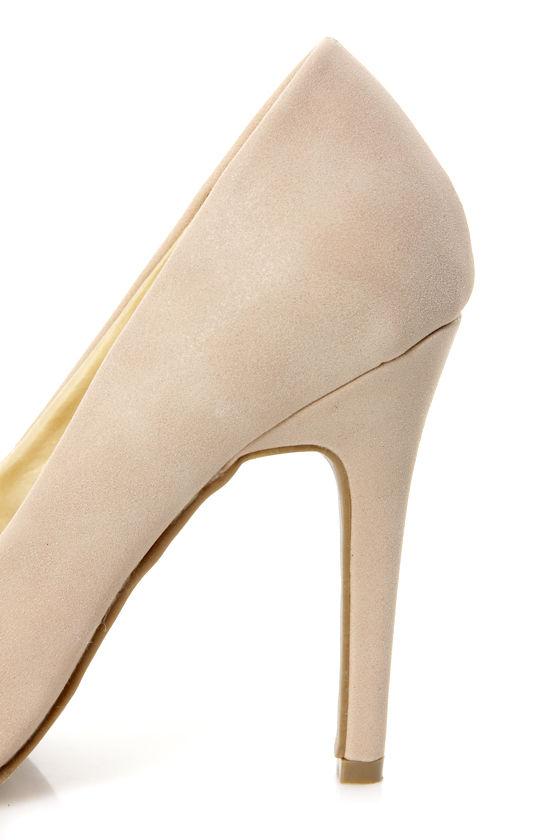 Shoe Republic LA Latin Nude and Silver Cap-Toe Pointed Pumps at Lulus.com!