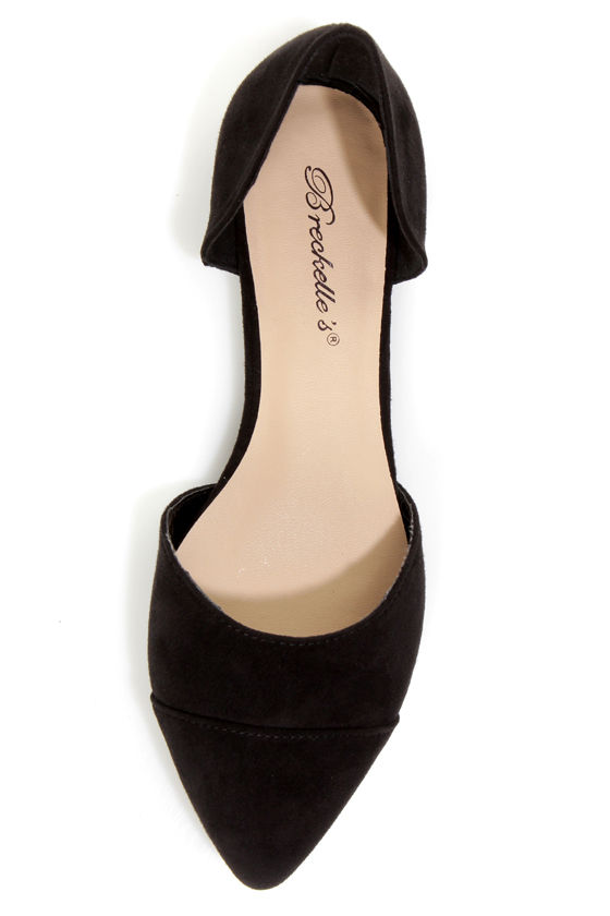 Dolley 03 Black D'Orsay Pointed Flats at Lulus.com!