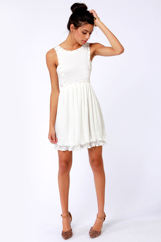 Studding Romance Pleated Ivory Dress at Lulus.com!