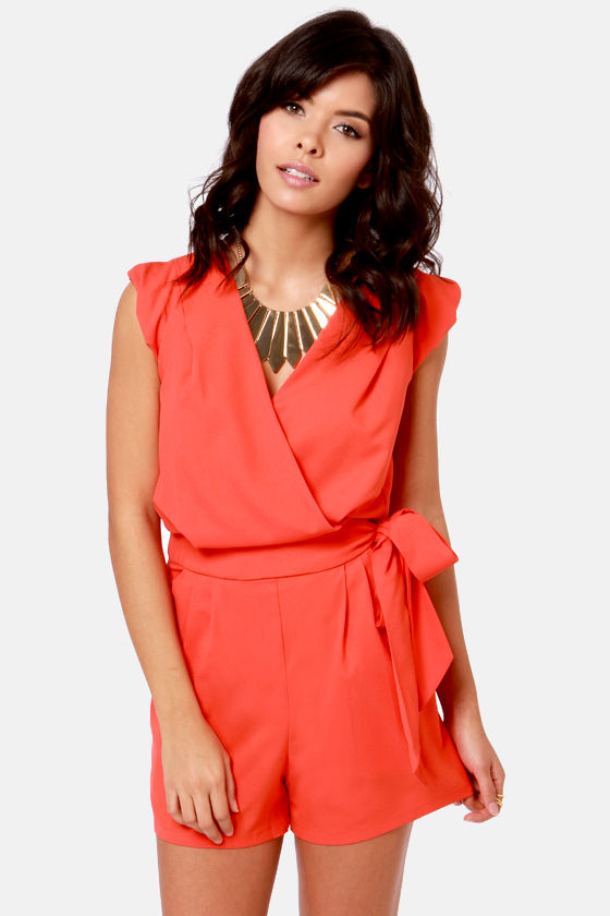 Take the Wrap Coral Red Romper at Lulus.com!