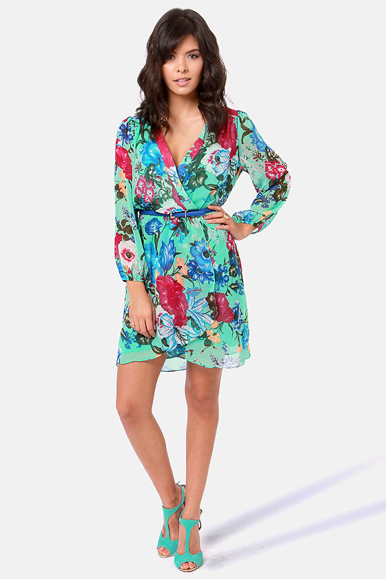 Jas-mine, All Mine Mint Green Floral Print Dress at Lulus.com!