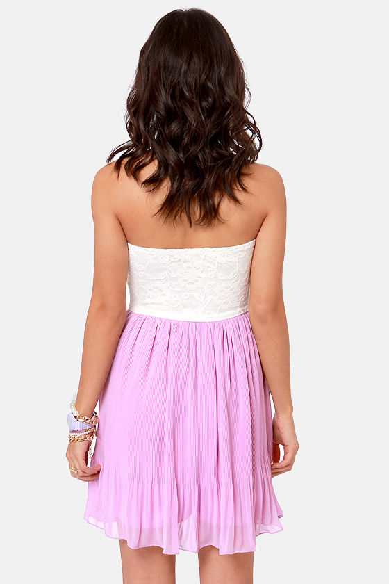 Pleat Your Case Cream and Lavender Dress at Lulus.com!