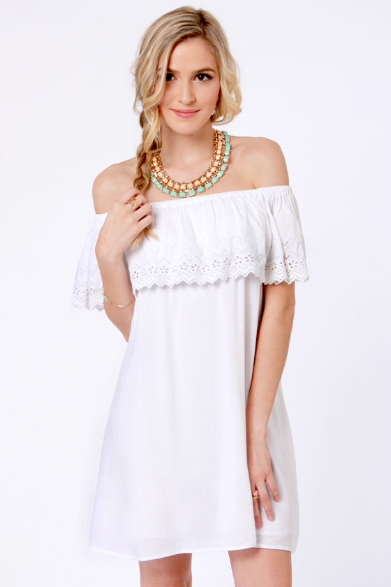 Billabong Summer Dayz Off-the-Shoulder White Dress at Lulus.com!