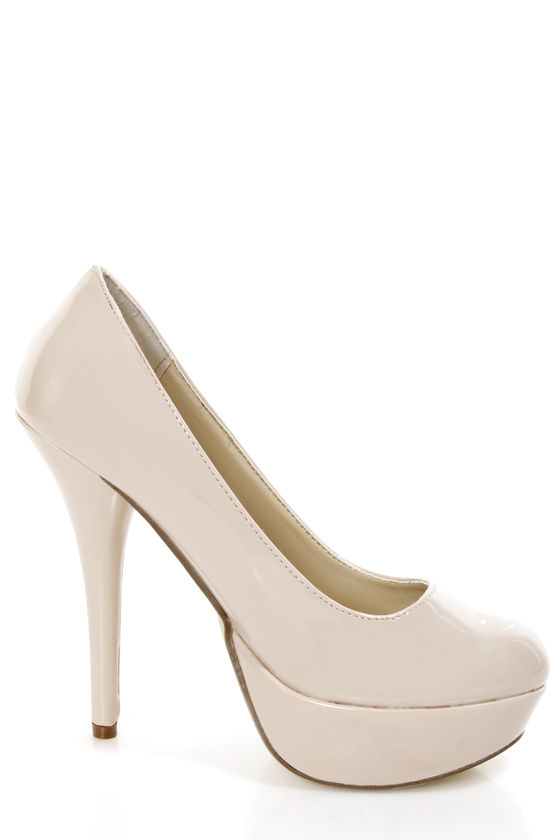 Bonnibel Monique 1N Blush Patent Platform Pumps at Lulus.com!
