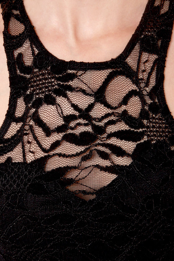 Secret Password Black Lace Midi Dress at Lulus.com!