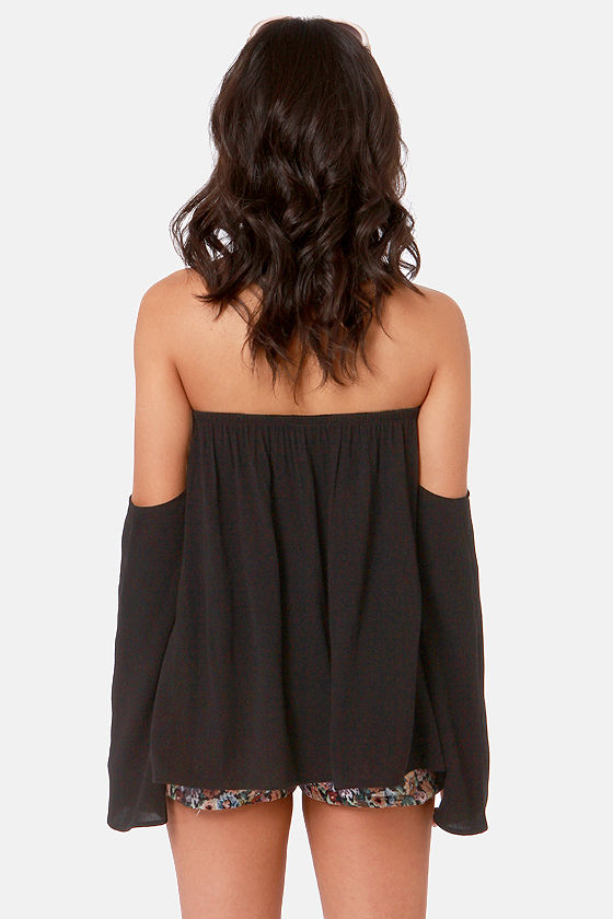 Tier Squad Off-the-Shoulder Black Lace Top at Lulus.com!
