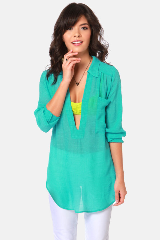 Lucy Love Morrison Turquoise Top at Lulus.com!