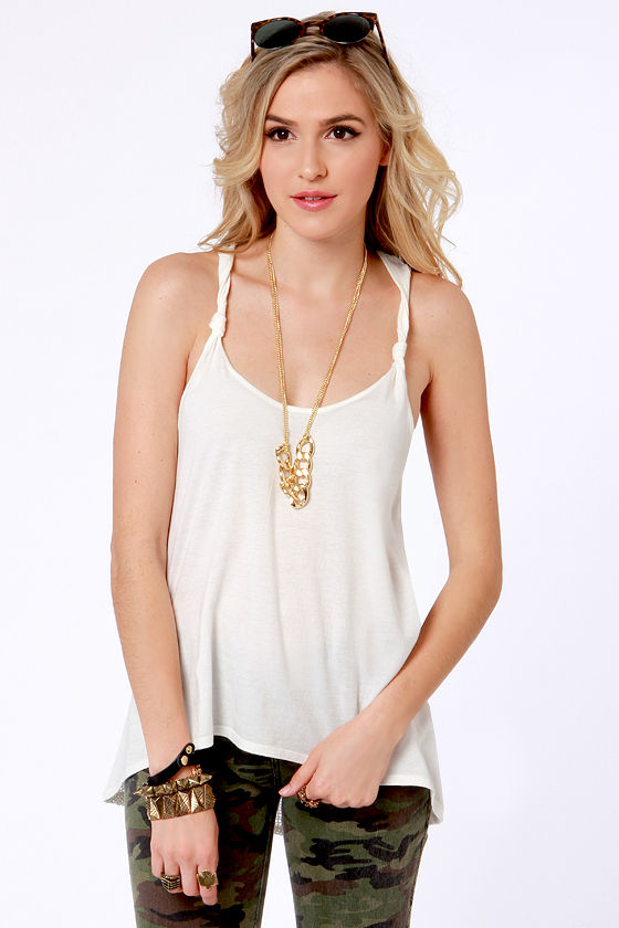 RVCA White Shadow Ivory Tank Top at Lulus.com!