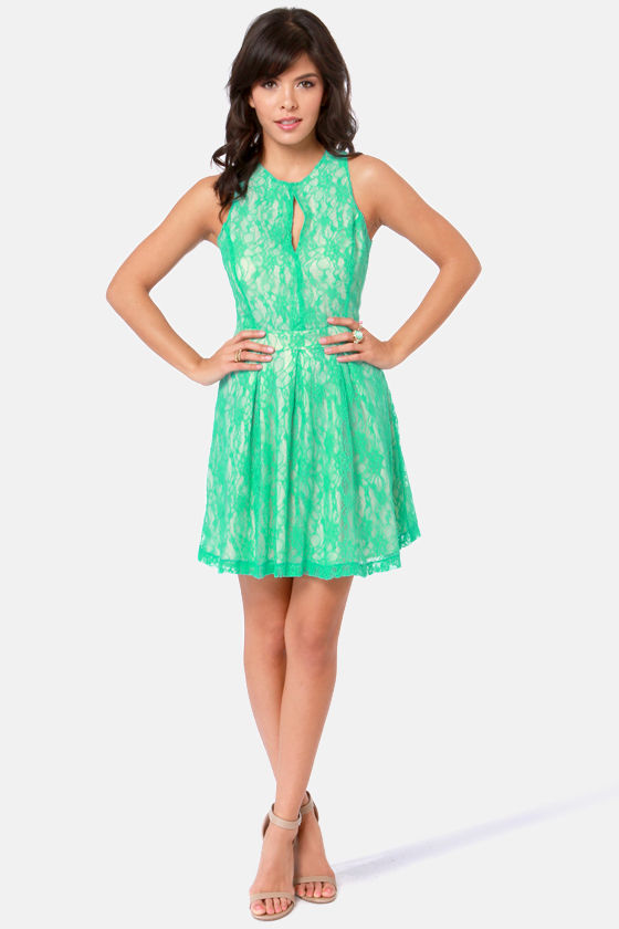 Lady of the Lace Sea Green Lace Dress at Lulus.com!