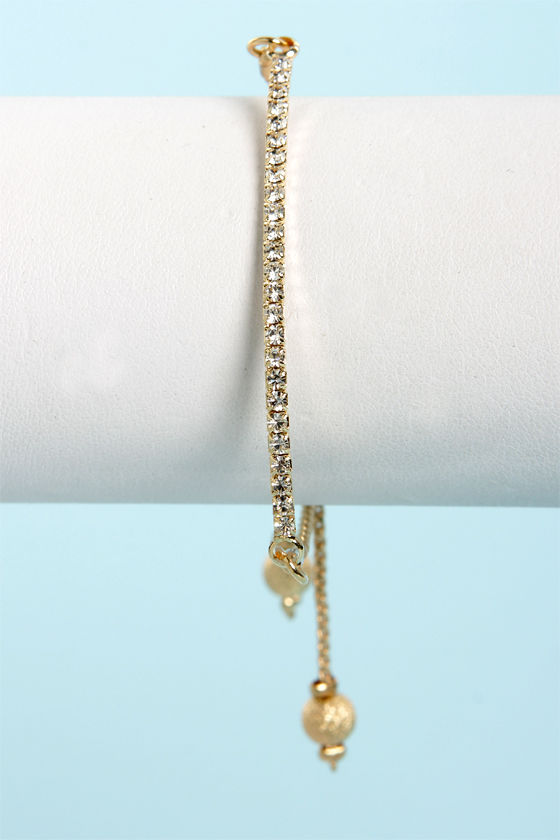 Ad-Just the Essentials Gold Rhinestone Bracelet at Lulus.com!