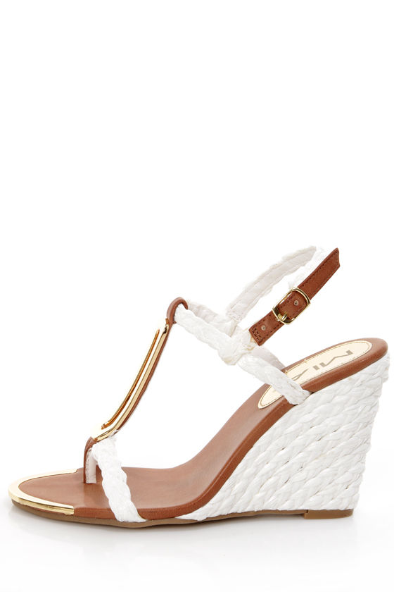 Mia Tiffany White Braided Metal Charm Wedge Sandals at Lulus.com!