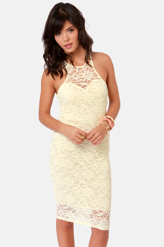 Sexy Pale Yellow Dress - Lace Dress - Midi Dress - $37.50