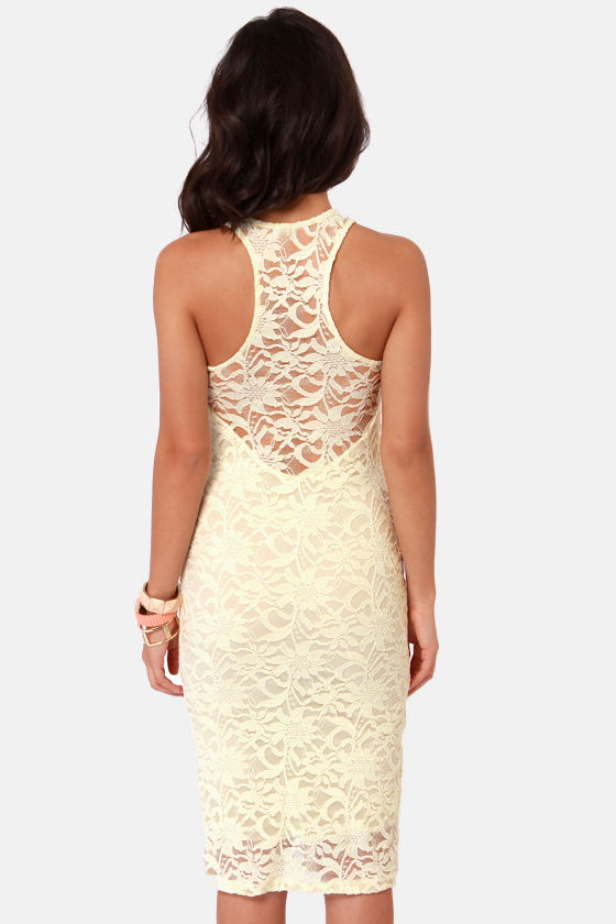 Secret Password Pale Yellow Lace Midi Dress at Lulus.com!