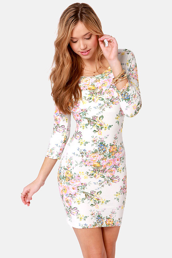 Billabong Knock Out Ivory Floral Print Dress at Lulus.com!