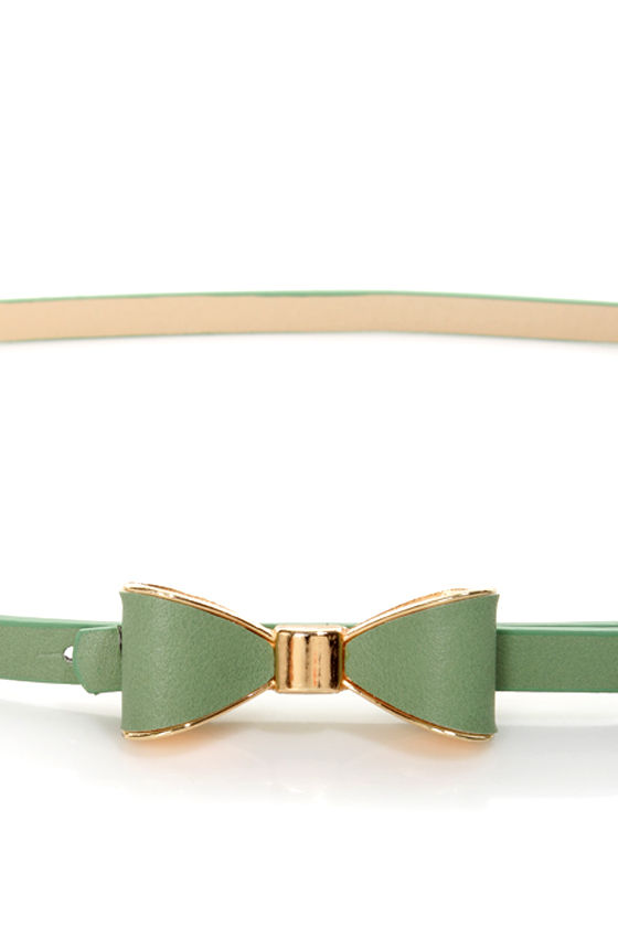 Good to Bow Sage Green Bow Skinny Belt at Lulus.com!