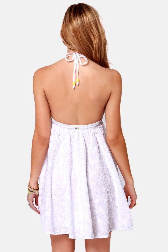 Billabong Like Heaven Embroidered White Halter Dress at Lulus.com!