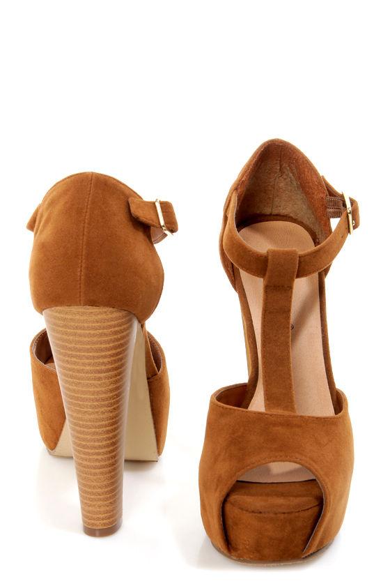 Brina 01 Tan T-Strap Peep Toe Platform Heels at Lulus.com!
