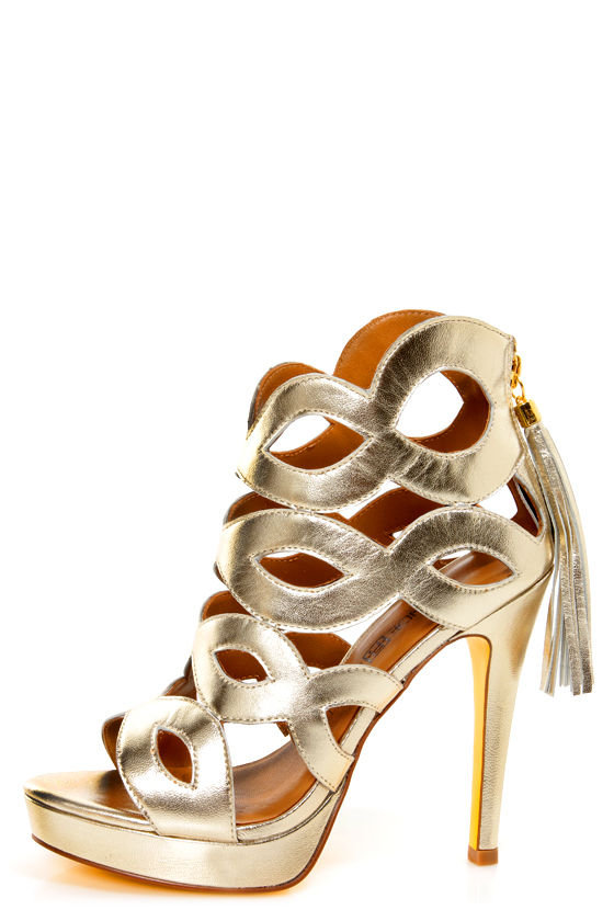Blonde Ambition Helena Platinum Metallic Cutout Platform Heels at Lulus.com!