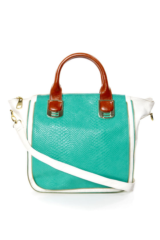 Steve Madden BGambet Turquoise and White Tote at Lulus.com!