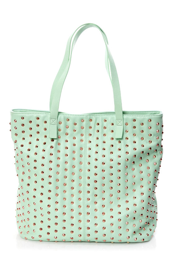 Steve Madden BDulcie Studded Mint Green Tote at Lulus.com!