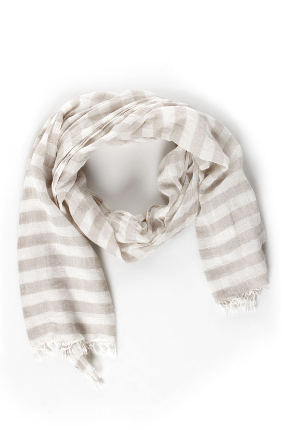 Nautical Smiles Taupe Striped Scarf at Lulus.com!