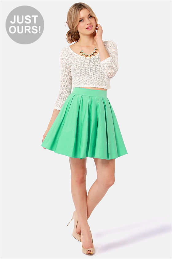Adorable Mint Green Skirt - Mini Skirt - Full Skirt - $45.00