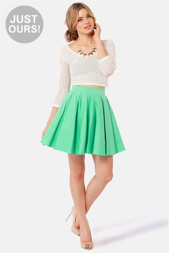 aeca679b4e63 Adorable Mint Green Skirt - Mini Skirt - Full Skirt - $45.00
