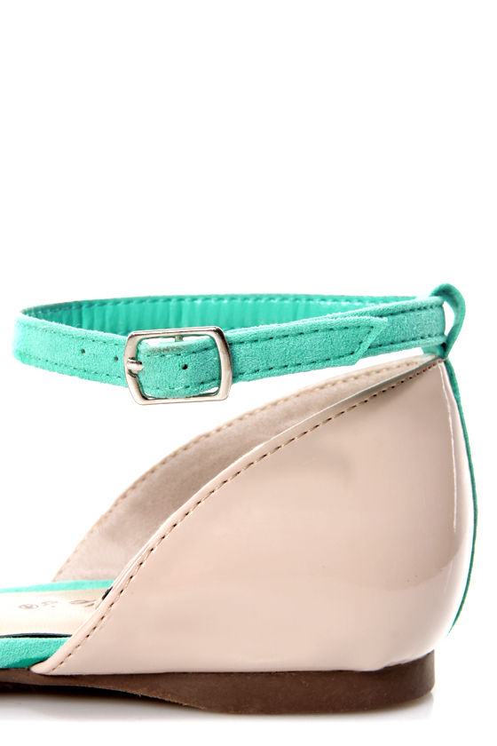 Dolley 11 Mint and Taupe D'Orsay Pointed Flats at Lulus.com!