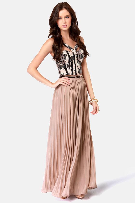 0eb316c02c Cute Pleated Skirt - Taupe Skirt - Maxi Skirt - $84.00