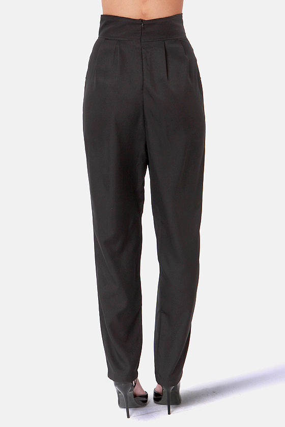 Take Up the Slacks Black High-Waisted Pants at Lulus.com!