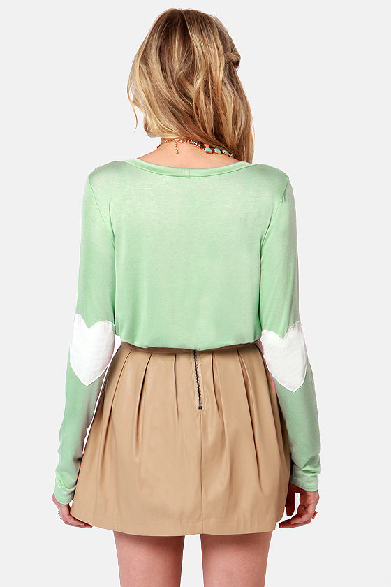 Hearts-ichord Mint Green Long Sleeve Top at Lulus.com!