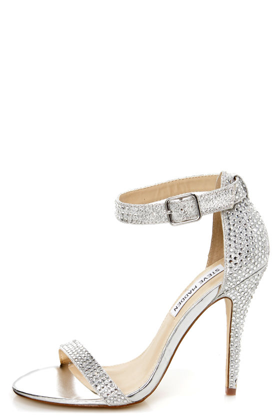 Steve Madden Realov-r Silver Rhinestone Dress Sandals at Lulus.com!